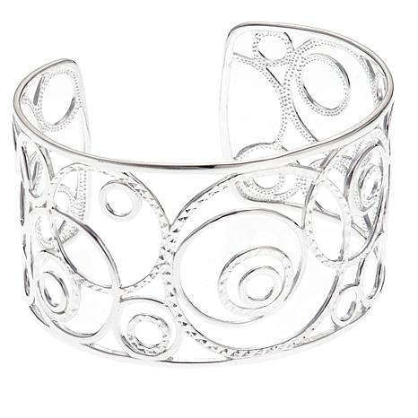 Sevilla Silver™ Diamond-Cut and High-Polish Swirl Cuff