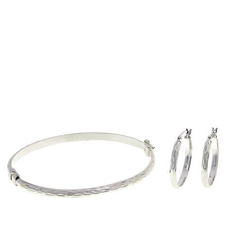 Sevilla Silver™ Diamond-Cut Bangle and Hoop Earring Set