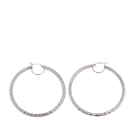 Sevilla Silver™ Diamond-Cut Mesh Hoop Earrings