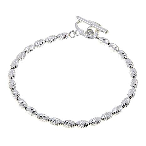 Sevilla Silver™ Diamond-Cut Oval Heart-Shaped Toggle Bracelet