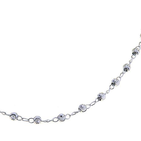 adjustable chain diamond inch bead supplies cut necklace jewelry silver sterling neck