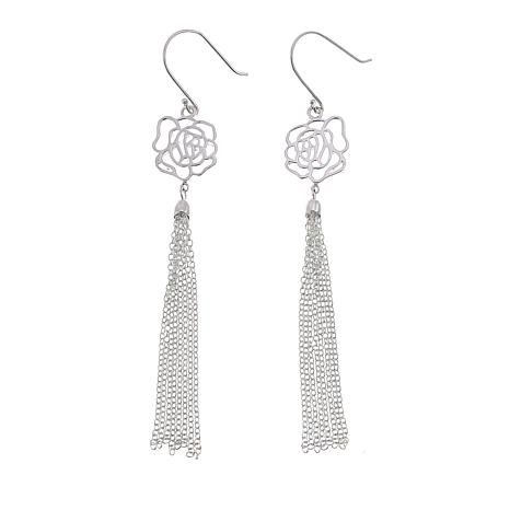 Sevilla Silver™ Filigree Flower Tassel Drop Earrings