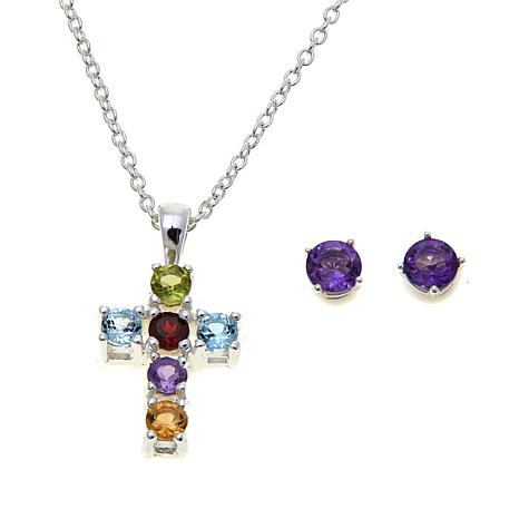 Sevilla Silver™ Gem Cross Pendant and Stud Earring Set