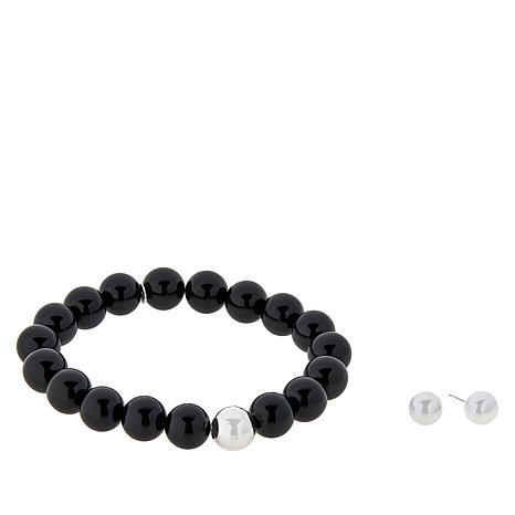 Sevilla Silver™ Gemstone Stretch Bracelet and Stud Earring Set