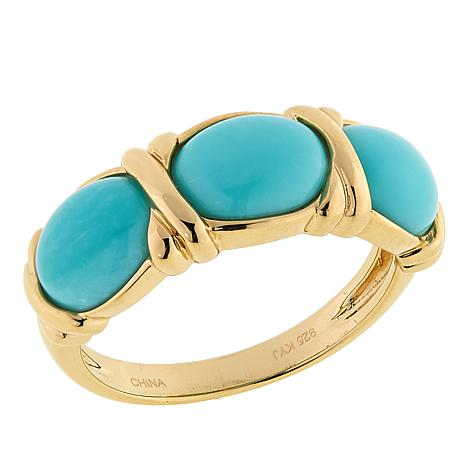 Sevilla Silver™ Gold-Plated Turquoise 3-Stone Ring