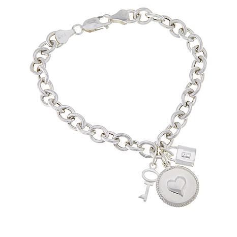 Sevilla Silver™ Heart, Lock and Key Charm Bracelet