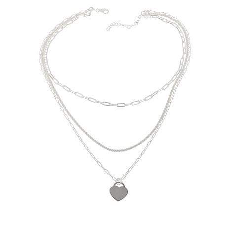Sevilla Silver™ Layered Chain Necklace with Heart Charm