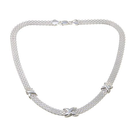 "Sevilla Silver™ Panther Link ""X"" Station Necklace"