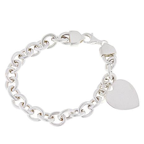 Sevilla Silver™ Rolo-Link Bracelet with Heart Charm