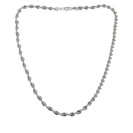 "Sevilla Silver™ Twisted Diamond-Cut ""Butterfly"" Chain"