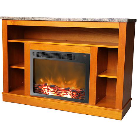 Sensational 47 In Electric Fireplace With 1500W Charred Log Insert And A V Storage Mantel In Teak Download Free Architecture Designs Rallybritishbridgeorg