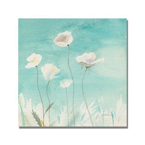 "Shelia Golden ""White Poppies"" Canvas Art - 18"" x 18"""