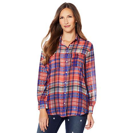 Sheryl Crow Printed Plaid Shirt