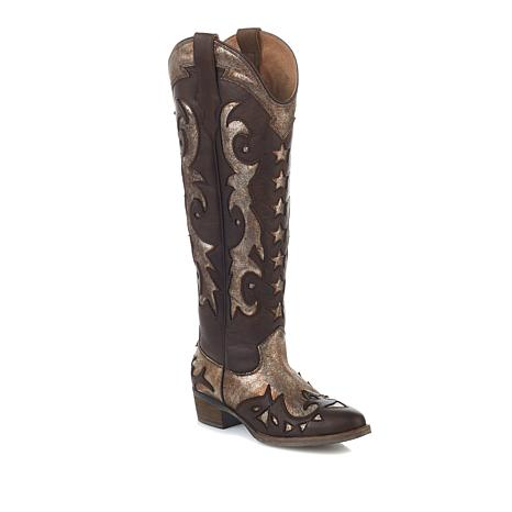 Sheryl Crow Sassy Leather Metallic Western Boot