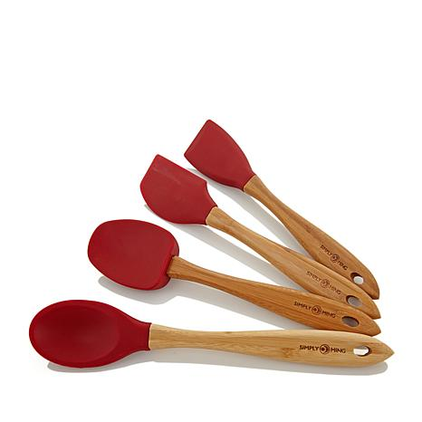 Simply Ming Bamboo & Silicone 4pc Gourmet Utensil Set