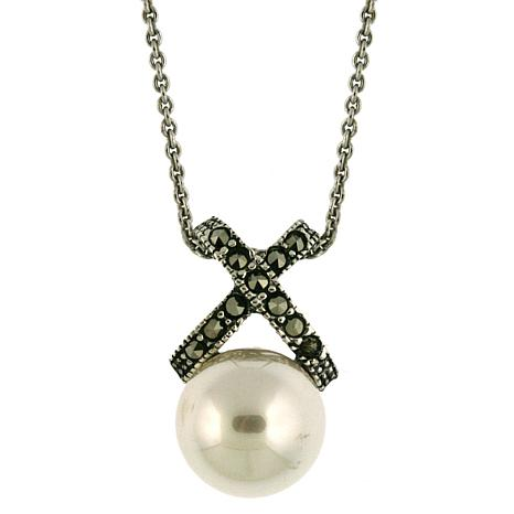 "Simulated Pearl and Marcasite ""X"" Pendant"