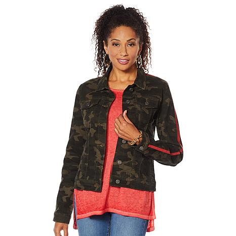 Skinnygirl Embroidered Stripe Camo Jacket