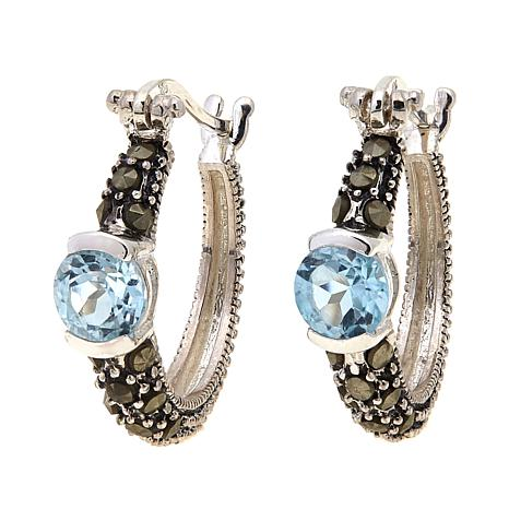 Sky Blue Topaz   and Marcasite  Hoops - March