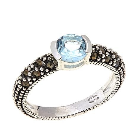 Sky Blue Topaz & Marcasite Sterling Silver Ring - March