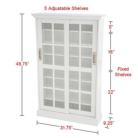 Sliding door media cabinet white 6221924 hsn for Door u value calculator