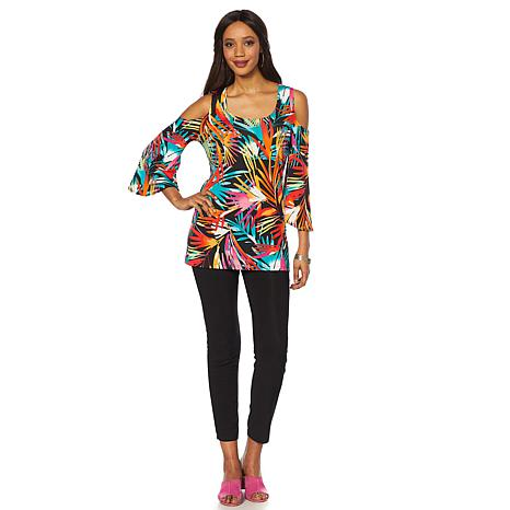 Slinky Brand 2pc Cold-Shoulder Printed Tunic and Pant