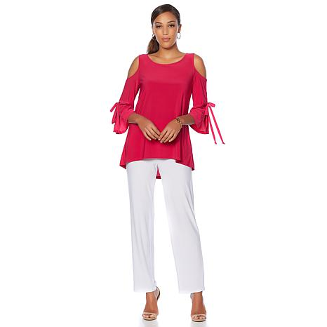 Slinky Brand 2pc Cold-Shoulder Tunic and Pant