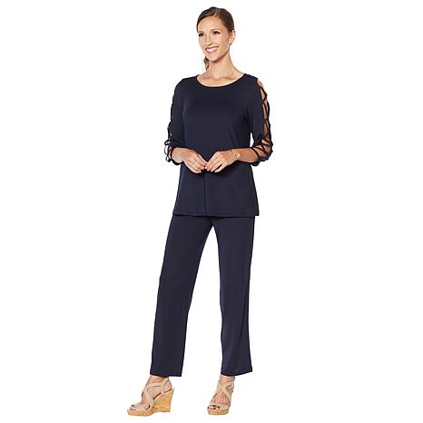 Slinky® Brand 2pc Lattice Sleeve Tunic & Pant Set