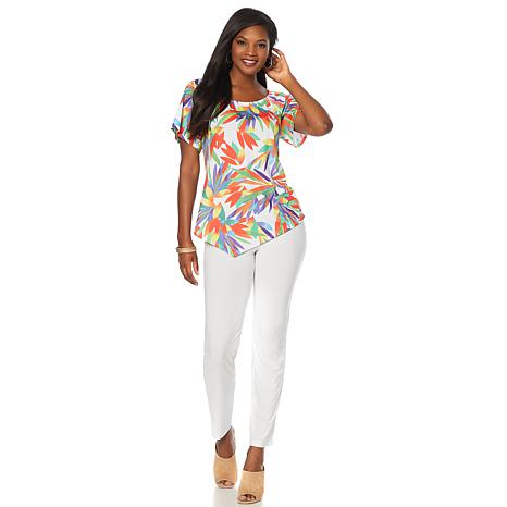 Slinky® Brand 2pc On/Off-Shoulder Printed Tunic and Pant