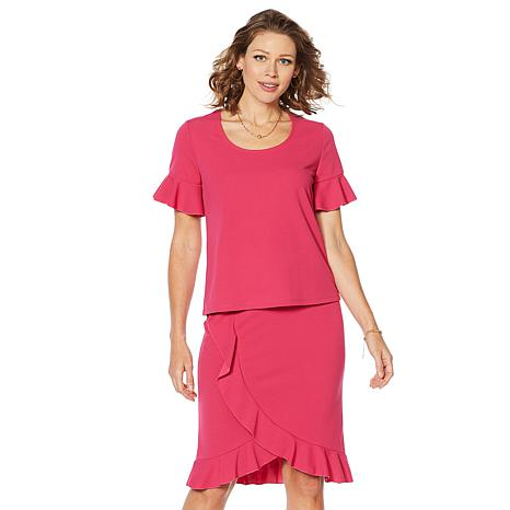 Slinky Brand 2pc Short-Sleeve Ruffle Tunic and Tulip Skirt Set