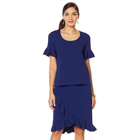 Slinky Brand 2pc Short-Sleeve Ruffle Tunic and Tulip Skirt Set
