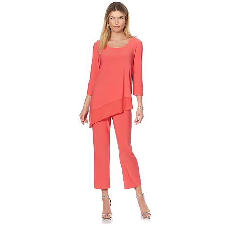 Slinky® Brand 2pc Tunic with Chiffon Angle Hem and Crop Pant