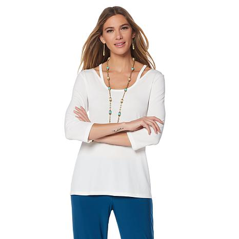 Slinky® Brand 2pk 3/4-Sleeve Tunics with Cutout Detail
