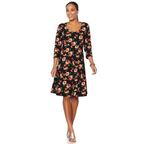 Slinky® Brand 3/4-Sleeve Fit and Flare Printed Dress