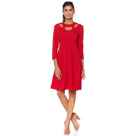Slinky® Brand 3/4-Sleeve Knit Fit-and-Flare Dress