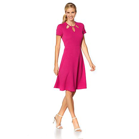 Slinky® Brand Cap-Sleeve Fit and Flare Dress