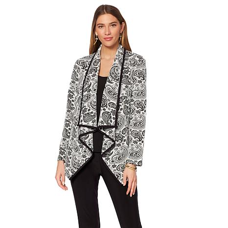 Slinky® Brand Cascade-Front Jacquard Jacket with Binding