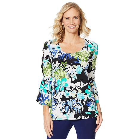 Slinky® Brand Cutout-Sleeve Printed Tunic with Bell Cuffs