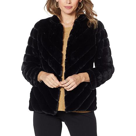 Slinky Brand Long-Sleeve Chevron Faux Fur Jacket