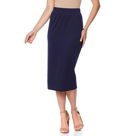 Slinky® Brand Ponte Knit Midi Length Pencil Skirt - 8481775 | HSN