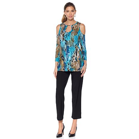 Slinky Brand Printed Cold Shoulder Tunic and Solid Pant