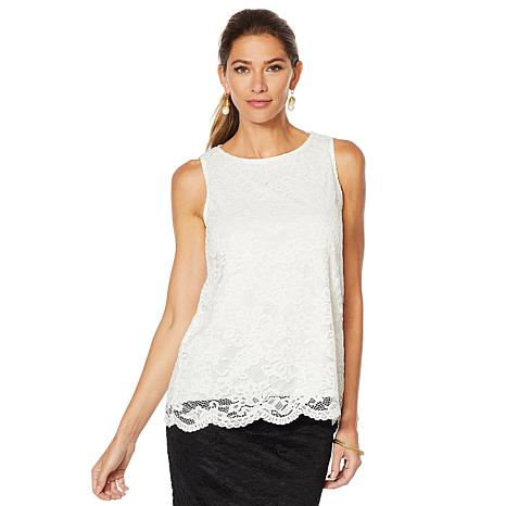 Slinky® Brand Sleeve Lace Top with Scalloped Hem