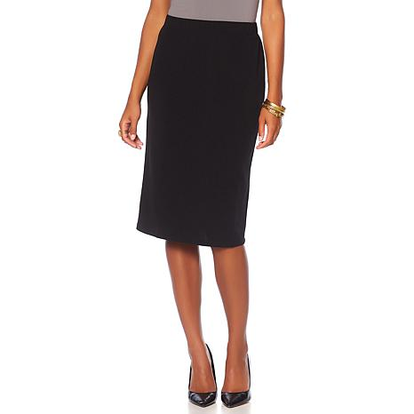 Slinky® Brand Solid Stretch Knit Textured Pencil Skirt