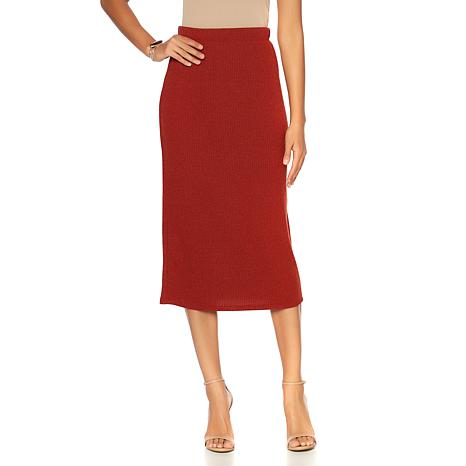 Slinky® Brand Sweater Knit Midi Length Pencil Skirt