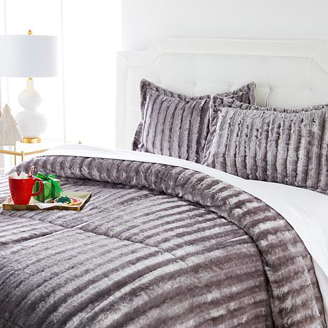 Soft & Cozy Faux Fur Comforter Set   9073988 | HSN