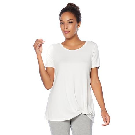 Soft & Cozy Loungewear Cool Luxe Knit Twist-Front Tee