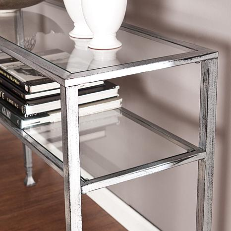 southern enterprises metal glass console table smoked uk next modern