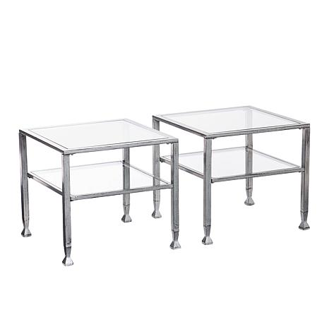 Superbe Southern Enterprises Dina Metal/Glass Bunching Cocktail Table   Silver