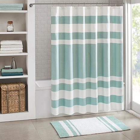 "Spa Waffle Shower Curtain with 3M Treatment - Aqua/72"""