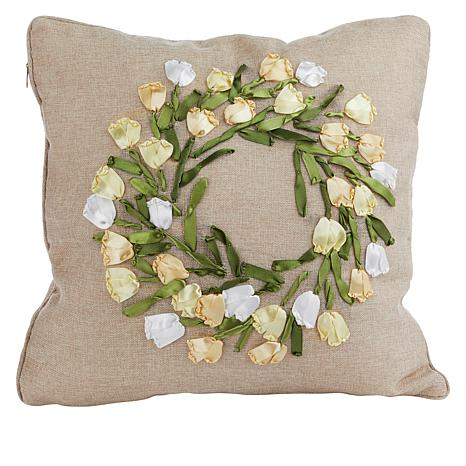 Spring Collection Decorative Pillow - Tulip Ribbon Wreath