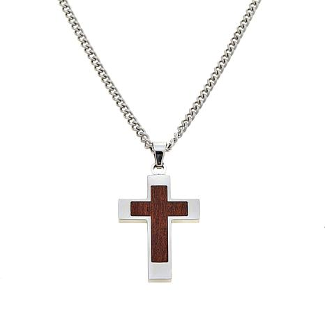 Stainless Steel and Wood Inlay Cross Pendant with Chain